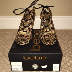 Brand new leopard print sandal heels